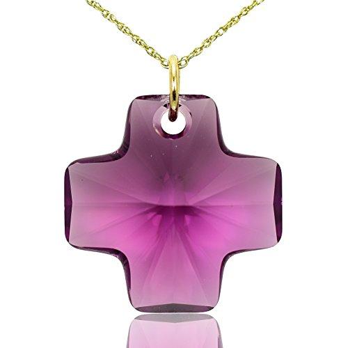 Collana a forma di croce in oro massiccio 9e ametista cristallo Swarovski