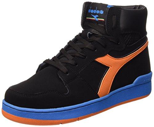 Diadora Cesto Dos Adultos Unisexo 80 N Sapatos Schwarz - Noir / Arancio Tropicale