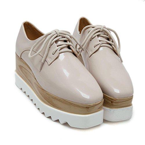 LvYuan Scarpe da donna / scarpe da ginnastica / cuoio brevettato / ufficio & carriera / tacco chunky / comfort / cappello quadrato / merletto Oxford / outdoor scarpe casual flatform apricot