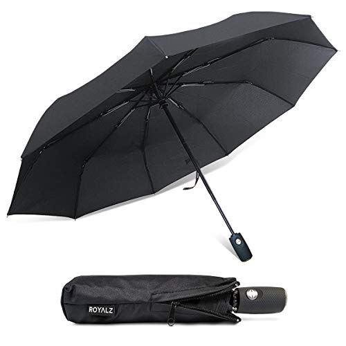 7b9e76573299 ROYALZ Umbrella Storm-Proof Pocket Umbrella with on-Off Automatic  Teflon-Coated Umbrella incl. Protective Bag Wind-Proof Black, Color:Black