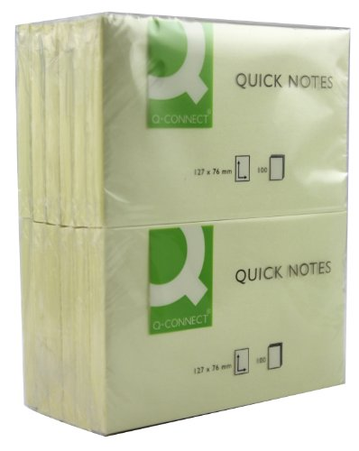 q-connect-75x125mm-quick-note-repositionable-pad-yellow