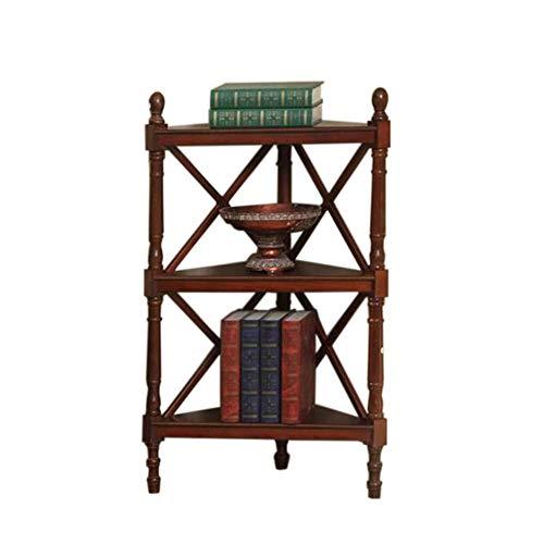 JCNFA Bücherregal Bücherregal Aus Massivem Holz Multifunktionales Eckregal Bodenstativ , Mehrschichtig (Farbe : Red-Brown, größe : 17.71 * 17.71 * 41.33in)