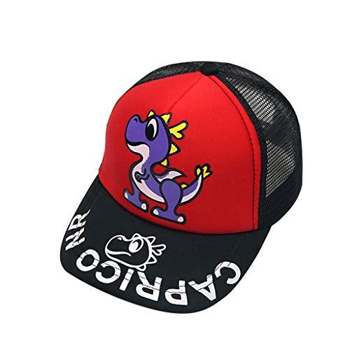 Louyihon-Kleidung Baby Jungen Mädchen Kindercap Hut aus weicher Baumwolle Dinosaurier Sonnenhut Traufe Brief Baseball Cap Sonnenhut Baskenmütze für Schule, Reisen, Klettern, Reiten (Rot)
