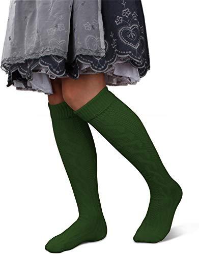 GearUp Lange und Kurze Trachtensocken für Damen | Trachtenstrümpfe fürs Oktoberfest | Kniebundhosenstrümpfe passend zu Dirndl oder Lederhose Farbe Jagdgrün lang Größe 35/38