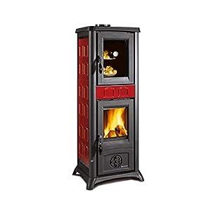 Estufa a leña 'Gemma Horno' con horno esmaltado. Revestimiento Exterior De Loza. Puertos, Cabecero y Focolare de fundido…