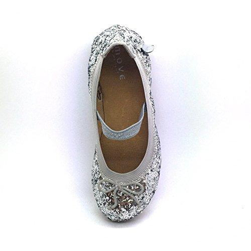 Melton, Ballerine bambine argento Silver, argento (Silver), 28 EU