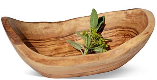 Figura Santa Corbeille à pain RUSTICO. Fabriquée à la main en d'un tronc en bois d'olivier, avec bord bien sûr gewachsenem. Avec kaltgepresstem Bio Huile de lin eingelassen. Taille : env. 22-24 cm