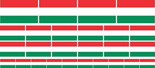 Mini Aufkleber Set - Pack glatt - 4x 51x31mm+ 12x 33x20mm + 10x 20x12mm- selbstklebender Sticker - Fahne - Ungarn - Flagge / Banner / Standarte fürs Auto, Büro, zu Hause und die Schule - Set of 26 -