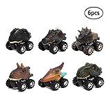 Yeelan 6 stücke Ziehen Dinosaurier Autos Dino LKW Spielzeug Mini Drachen Tier Fahrzeug mit Reifen Rad Kreativität für Kinder /Kind / Kleinkind (5x6x7 cm / 2x2.4x2.8in, kleine größe)