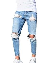 Pantaloni da Uomo Super Stretch Jeans Aderenti Skinny Pantaloni da Denim  dall aspetto Fashion Fashion cf2847bb4c96