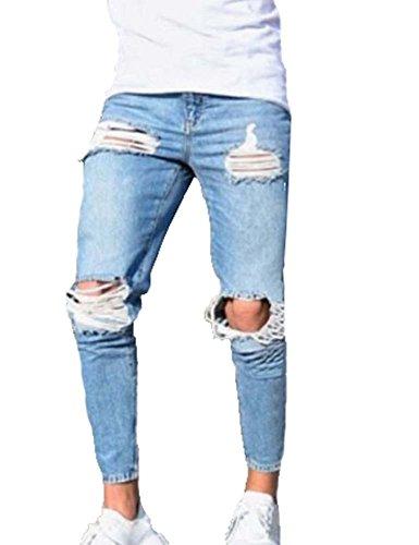 Pantaloni da uomo, Jeans da uomo skinny strappati elasticizzati da uomo Pantaloni jeans da denim slim fit strappati con cerniera (azzurro)