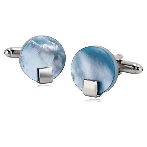 Aooaz 1 Paar Herren Manschettenknöpfe Edelstahl Runde Quadrat Silber Blau Verlobung Manschettenknopf 1.7 x 1.6cm