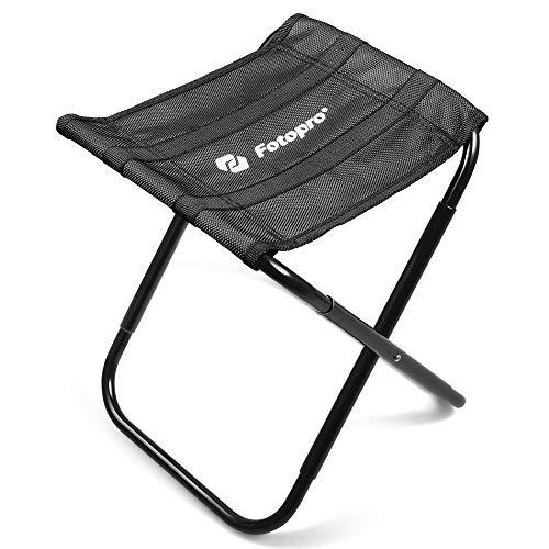 Fotopro klapphocker Aluminium, klappbarer Alu Hocker, faltbar schwarz Gestell Textilien für Camping Outdoor