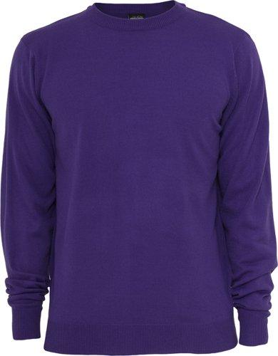 Urban Classics Herren Knitted Crewneck Pullover, Violett (Purple 00195), Large Purple Classic Hoody Sweatshirt