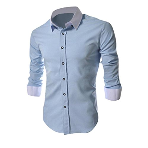 Jeansian Hommes Chemise Casual Slim Fit Trend Fashion Mens Shirt 8530 Skyblue