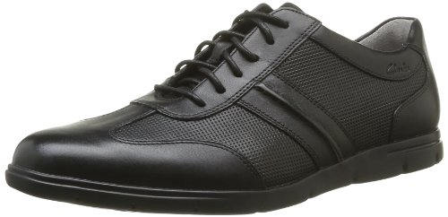 Clarks Denner Race, Sneaker uomo, Nero (Schwarz (Black Leather)), 42.5
