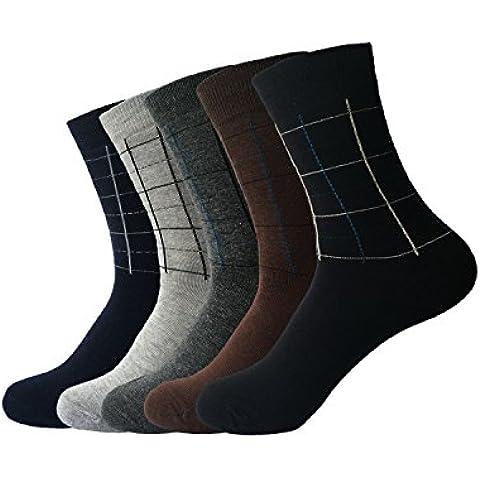 Zando para hombre Casual algodón línea cuadrados ropa de trabajo Crew vestido de tejido de alta calcetines