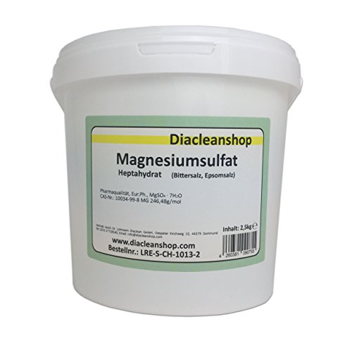 Magnesiumsulfat 2,5kg - Bittersalz - Epsom Salz - Epsomit - in Pharmaqualität (reiner als Lebensmittelqualität) – Magnesiumbäder
