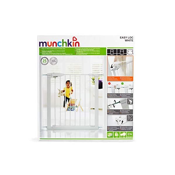 Munchkin Safety Gate Easy Lock (White) Munchkin The pressure gauge ensures the gate is installed correctly The U-frame is secured with 4 pressure points for a tight fit pressure Push and squeeze the handle for easy one-handed opening by an adult. 8
