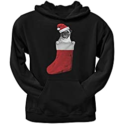 Media de la Navidad Pug negro sudadera con capucha adulto - X-grande
