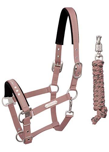 SPOOKS Pferdehalfter, Führstrick, Pferdestrick, Set für Pferde, Pferdeleine - Halfter Catania mit Strick rose cob