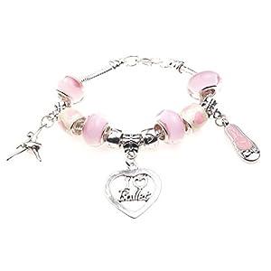 Jewellery Hut Charm-Armband mit Aufschrift I Love Ballet für Kinder, mit Geschenk-Box