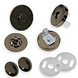 maDDma  2 Magnetverschlüsse mit Verblendungs-Niete Ø18mm, Taschen-Börsen-Verschluss, Variante:altmessing