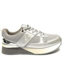 Scarpe Donna US Polo Sneaker Running Tabitha Ecopelle Lurex Silver DS19UP06 afd58c17492