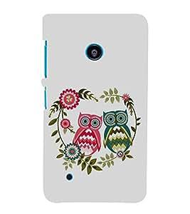 FUSON Illustration Of Couple Owl 3D Hard Polycarbonate Designer Back Case Cover for Nokia Lumia 530 :: Nokia Lumia 530 RM 1017 :: Nokia Lumia 530 Dual SIM :: Microsoft Lumia 530 Dual