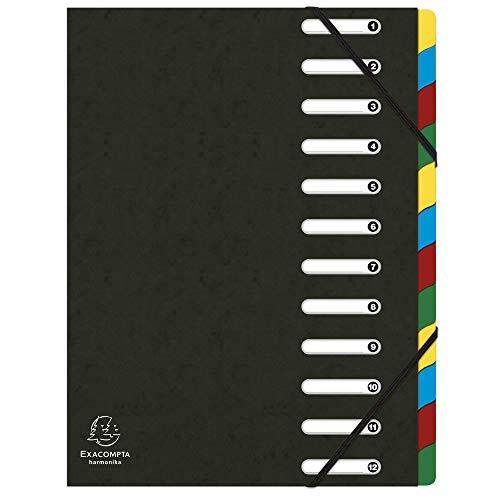 Exacompta 55121E Ordnungsmappe (Harmonika, DIN A4, 21 x 29,7 cm, 12 Fächer, aus Manila-Karton, Gummizug, Indexfenster) 1 Stück schwarz