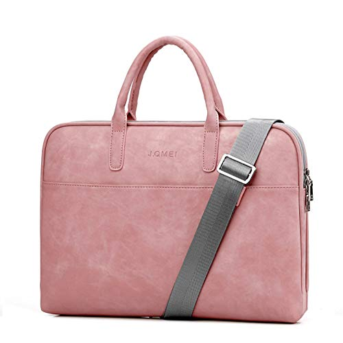 """LHJ 15,6""""Nylon-Laptop-Tasche Pu-hülle Mit Internem Plüschschutz Business Casual Schultergurt,Pink,15.6inches"""