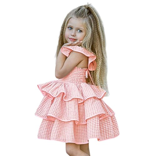 Hirolan Kleinkind Baby Rüschen Taufbekleidung Ärmellos Sommerkleid Mädchen Plaid Riemen Outfits Hochzeit Brautjungfer-Festzug Prinzessin Abendkleid Partyskleid (75-80cm, Rosa)