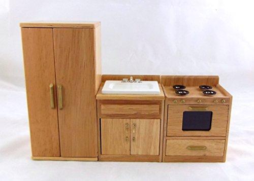 Preisvergleich Produktbild Puppenhaus Miniatur 1:12 Eiche Küchenmöbel Set Waschbecken Ofen Kühl-/gefrierkombination