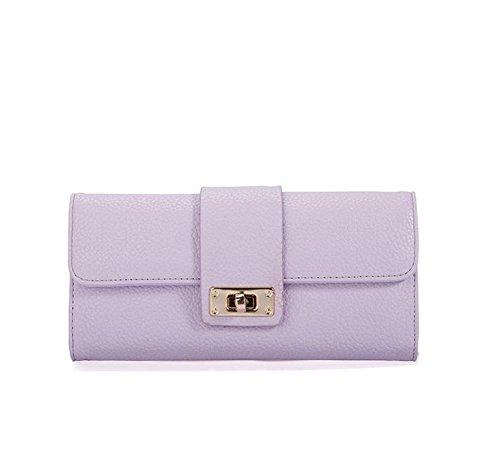 Hippolo Portafoglio Donna Elegante Frizione Trifold Porta Monete Multi-Card Fessura (Black) Purple
