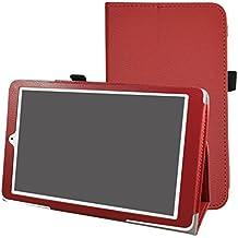 """Alcatel Onetouch PIXI 3 (10) Funda,Mama Mouth Slim PU Cuero Con Soporte Funda Caso Case para 10.1"""" Alcatel One Touch Pixi3 10 Android Tablet,Rojo"""