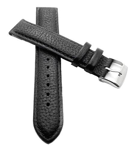 18 mm XL Uhrenarmband schwarz Uhrband Büffel echt Leder Überlänge extra Lang (18 Lang Uhrenarmband Extra Mm)