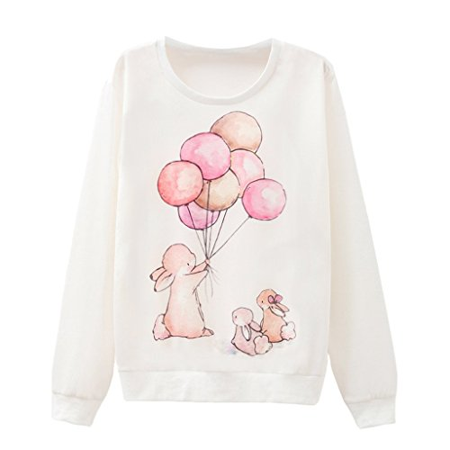 Weibliche Kaninchen Warme Familie Cartoon Tier Drucken Sweatshirt Pullover (Weihnachten Hässlich Anzug Pullover)