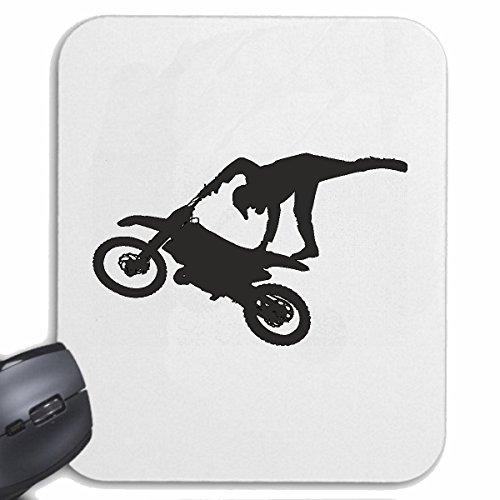Reifen-Markt Mousepad (Mauspad) Motocross Silhouette 125CCM Moto-Cross Freestyle Motocross Motorrad Sport Bekleidung Biker Motorrad Bike Maschine für ihren Laptop, Notebook oder Internet PC (mit Wind