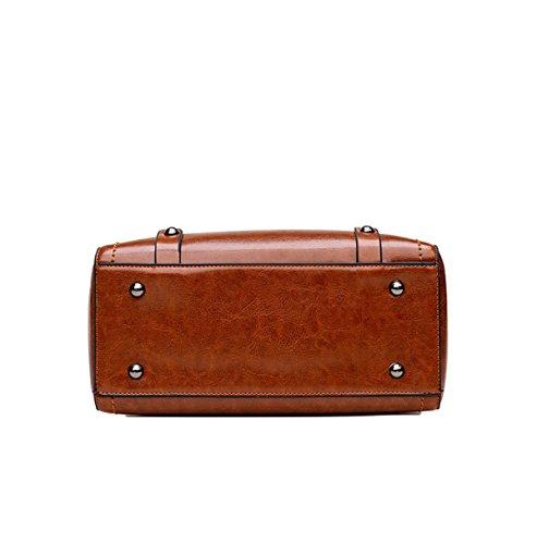 Frauen Klassische Handtaschen Weiche Leder Große Messenger Bag Damen Retro Einkaufstaschen Office Girl Geldbörse Brown