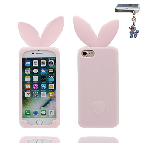 """iPhone 7 Plus Coque, Étui Cover Housse pour iPhone 7 Plus 3D Cartoon lapin oreille en Gel TPU Shell iPhone 7 Plus Case (5.5"""") Résistant à la poussière Scratch & Bouchon anti-poussière Pink 2"""