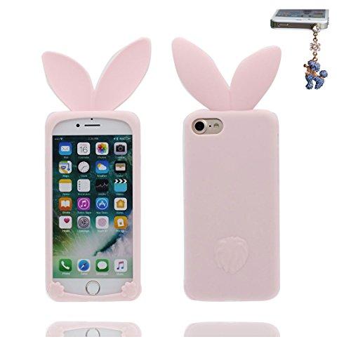 iPhone 7 Custodia, TPU sicuro / Case iPhone 7 Copertura / Shock Dust Resistant Shell iPhone 7 Cover 4.7 e tappi antipolvere / Cartoon 3D coniglio orecchio Rosa 2