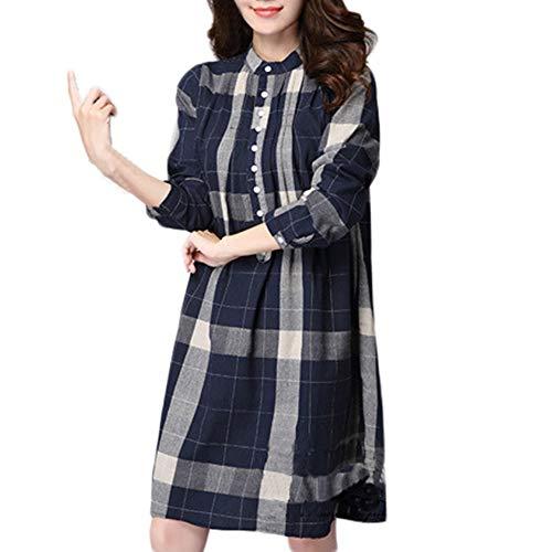 OverDose Damen Herbst Outing Stil Frauen Plus Size Gitter Baumwolle und Leinen Langen Ärmeln Party Lose Tops Bluse Outwear Pullover Tuniken(Marine,EU-40/CN-XL ) (Kleidung Bluse Junior)