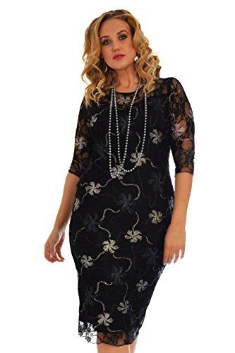 Floral Foil Dress Silver 20 (Silver Plus Size Kleider)