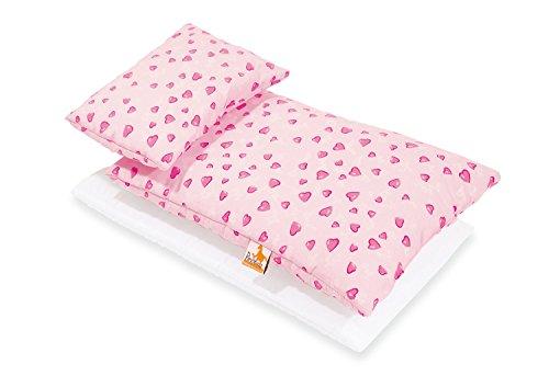 Pinolino 28350-7 Bettzeug für Puppenbetten, 3-teilig, herzchen rosa