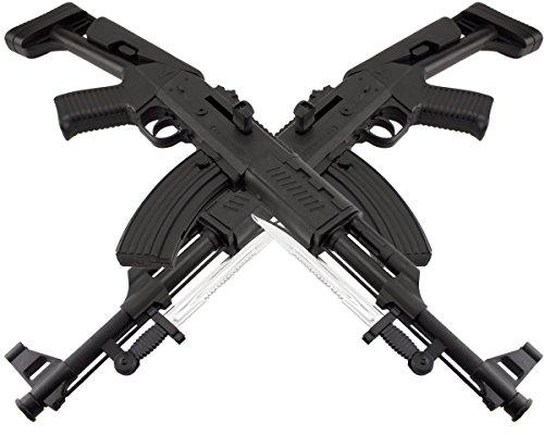 B.W. GYD Bajonett AK Softair Einsatz Airgun Gewehr Magazin Federdruck Black 0,5 Joule Doppelpack Set