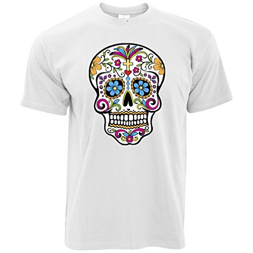 Tim And Ted Sugar Skull Day of The Dead Honor Death Mexican Holiday Spanish Tradition Flowers Celebration Folk Mens T-Shirt Cool Funny Gift Present