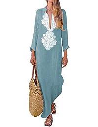 Blu Donna Abbigliamento lino Amazon Gonne it camicia qYq7xtf