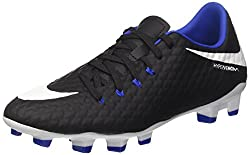 Nike Mens Hypervenom Phelon III FG Soccer Cleats (Sz. 8) Black, White, Game Royal