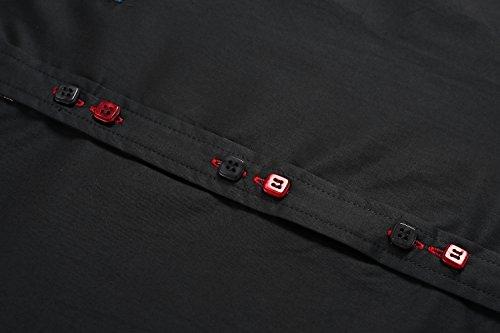 Aulei Herren Hemd slim fit Freizeitbekleidung für Business Hochzeit Fest Schwarz
