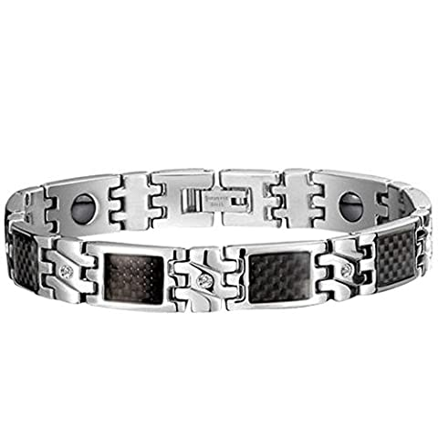 JewelryWe Stainless Steel Black Carbon Fiber Bracelet Magnetic Link Wristband Biker Men's, 8.3 Inch - Colour Black Silver (with Gift Bag)
